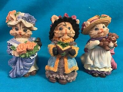 """Three Cute Cat Figurines Wearing Fancy Dresses & Hats 4"""" Tall Colorful"""