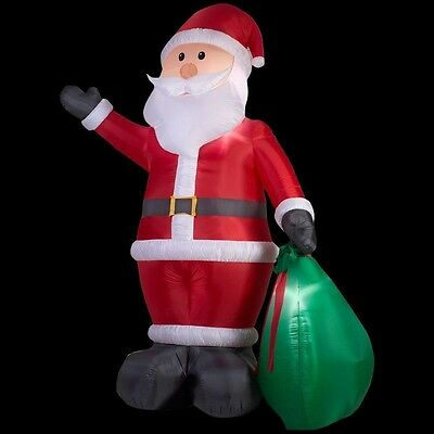 Christmas Holiday Lighted Inflatable Santa w/ Gift Sack Outdoor Decoration