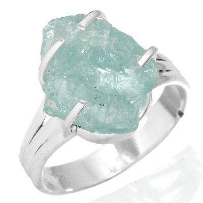 Natural Aquamarine Rough Solid 925 Sterling Silver Women Ring Size 7 DX35674
