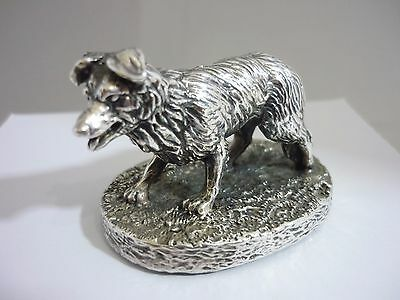 Stunning Vintage Hallmarked Sterling Silver Border Collie Dog Statue