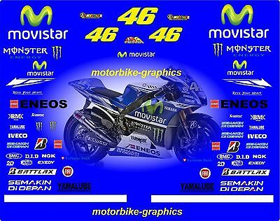2014 Yam MOVISTAR ROSSI  Moto  GP Full race decals graphics Stickers Kit