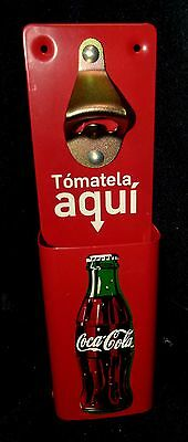 Metal Red Coke Coca Cola Bottle Opener and Cap Catcher Wall Mount Stationary