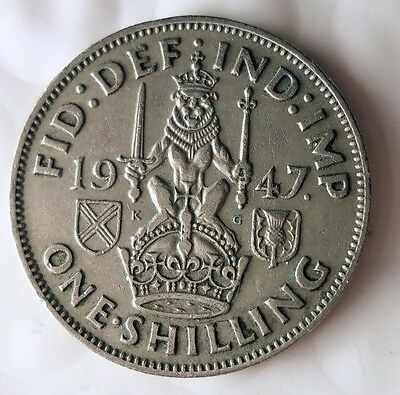 1947 GREAT BRITAIN SHILLING - Scottish Crest - FREE SHIP - Shilling Bin A