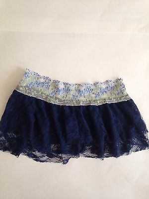 Navy Blue Lace Ballet Pull Up Skirt Size L