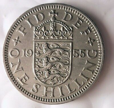 1955 GREAT BRITAIN SHILLING - Excellent Coin - FREE SHIP - Shilling Bin A