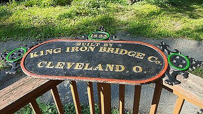 Antique 1885 Cast Iron Bridge Sign Plaque King Iron Cleveland Ohio