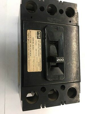 FPE FEDERAL PACIFIC TYPE NEJ 200A 3 POLE NEJ233200 Main Circuit BREAKER 200 Amp