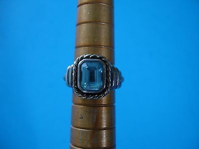 Signed CNA (Pranda Group) Sterling Silver and14K RING, Size 6, Blue Stone