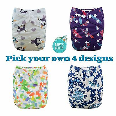 modern cloth nappies 4 ALVA pocket nappies + FREE 4 microfibre inserts