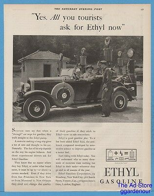 1929 Ethyl Gasoline Gas Pump Service Station Attendant roadster rumble seat Ad
