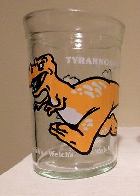 "Vintage Welch's Jelly Jar Glass DINOSAURS Tyrannosaurus Rex 4"" Tall"