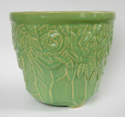 Vintage NELSON McCOY POTTERY CARVED ROSES PLANTER POT in LIGHT GREEN Nice Patina