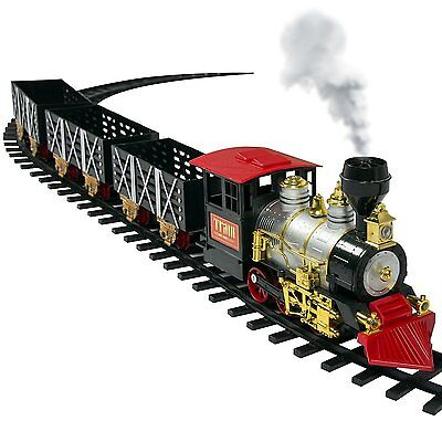 Classic Train Set For Kids With Real Smoke, Music, and Lights Battery Operated