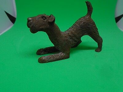 Vintage Metal Dog Figure  Playful Terrier