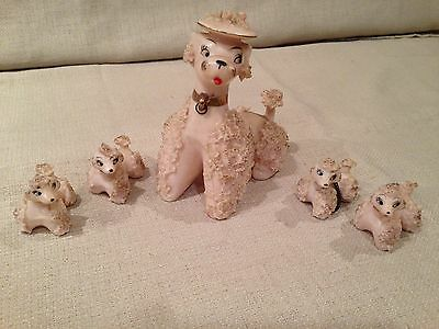 Vintage Retro 50's Pink Poodles Spaghetti Mom and 4 puppies Japan