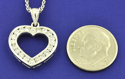 14k Solid White gold Natural Diamond pendant 0.75 ct Channel set made in USA