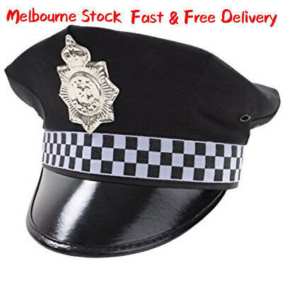 Adult Police Officer Cap Hat Party Hat Costume Accessories Fancy Dress Up nevy