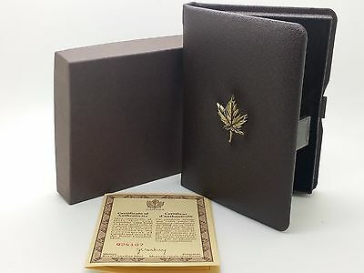 1981 Royal Canadian Mint $100 Gold Coin Proof Empty Brown Leather Box & COA
