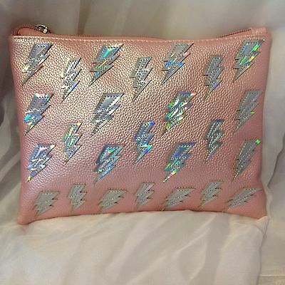 Dolls Kill Pink Holographic Lightning Bolt Clutch Nwt