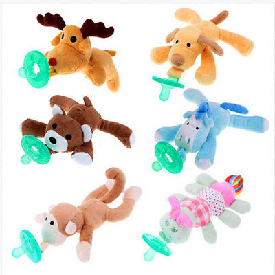 New 1PC Infant Baby Soothie Boy Girl Silicone Pacifiers with Cuddly Plush Animal