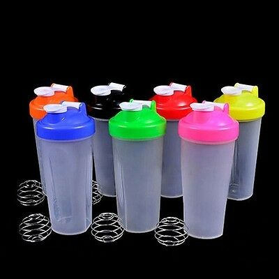 1PC Shake Gym Protein Shaker Mixer Cup Bottle Drink Whisk Ball 400ML