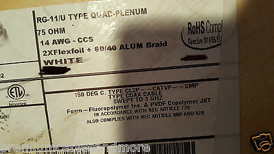 Carol C3529 RG11/U Quad Shield Plenum/Dir Bur Kynar Teflon Coaxial Cable /50ft