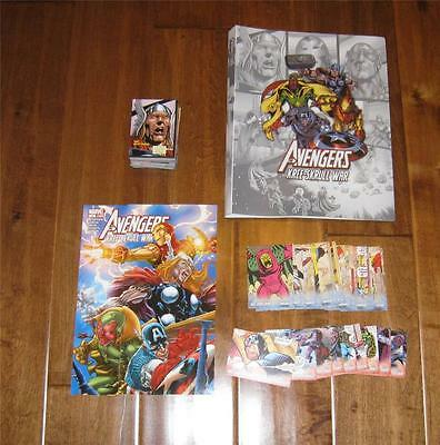 2011 AVENGERS KREE SKRULL WAR Base Set w/ 3 Insert Sets + Limited Edition Binder