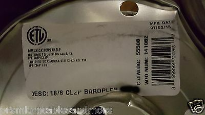 Coleman Cable CCI 55508 18/8C Baroplen Solid Plenum Thermostat Cable White /50ft