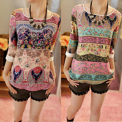 Women Boho Floral Long Sleeve Tops Loose Blouse Shirt Cotton Casual T-shirt Nice