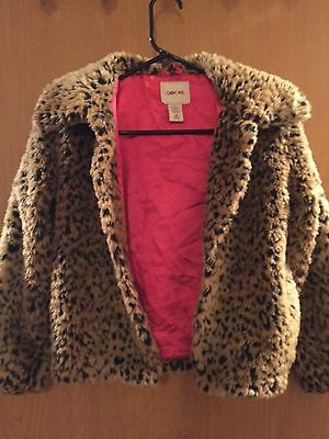 Cheetah Print Jacket With Pink Satin Lining Girls Size Medium 7-8