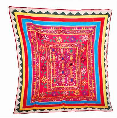 """Autahntic 44"""" X 53"""" Heavy Mirror Embroidery Rabari Wall Tribal Hanging Tapestry"""