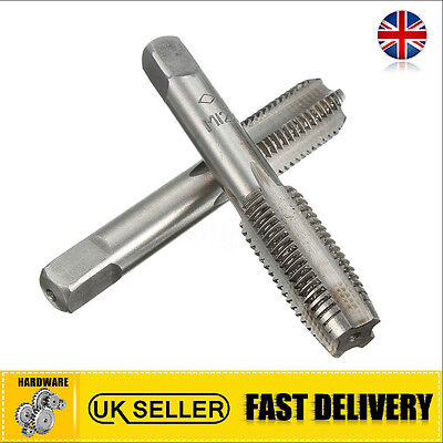 UK 2Pcs M12 x 1.5mm Pitch Metric Thread Plug Taper Pipe Hand Taps Drill Bits