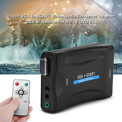 1080P VGA to SCART Video Audio Converter Adapter For HD TV DVD Box + Controller