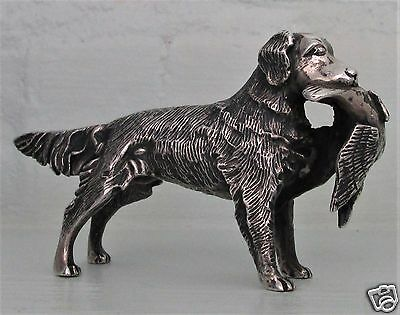 S. KIRK & SON SOLID CAST STERLING MINIATURE RETRIEVER W/BIRD  3.61 Troy oz.