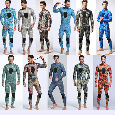 Mens Full Wetsuit 3mm Camouflage Camo Spearfishing Scuba Skin Diving Zipper Back
