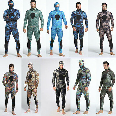 3mm 2 Piece Camouflage Spearfishing Diving Men Full Wetsuit Scuba Hooded Hood