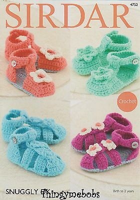 Sirdar 4752 Snuggly Dk Baby Sandals/shoes Original Crochet Pattern - Birth-2 Yrs