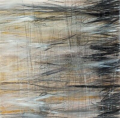 J.Taylor Abstract art original contemporary painting on paper brown black grey