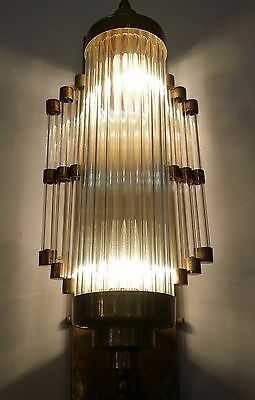 Vintage Old Art Deco Skyscraper Brass & Glass Rod Ship Light Wall Sconces Lamp