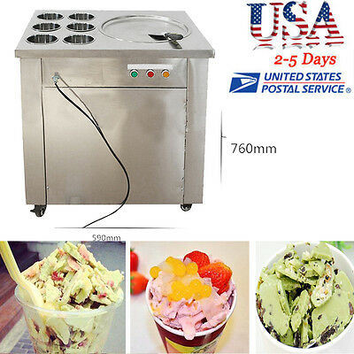 Commercial Fried Ice Cream Machine,1 pan 6 boxes Ice Crean Roll Making Summer