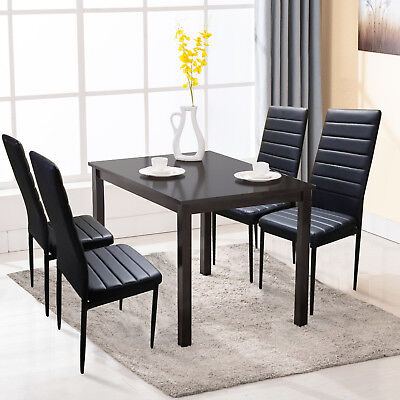 5 PCS Black Dining Table and 4 Chairs Set Dining Room Breakfast Furniture