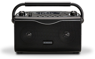 Roberts ECO4BT in black portable stereo digital radio with Bluetooth technology