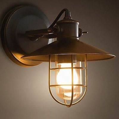 Black Cage Glass Metal Vintage Industrial Porch Wall Light Sconce Lamp Porch