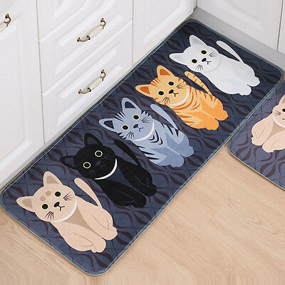Cat Printed Non Slip Door Floor Rug Mat Kitchen Bathroom Cartoon Soft Carpet Mat