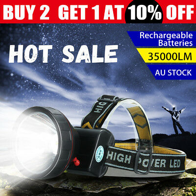 2018 Elfeland 35000Lm LED Rechargeable Headlight Headlamp Head Torch Camping AU