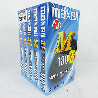 Maxell VHS E-180 M Cassette Tapes for Video VCR Recording 3 Hours