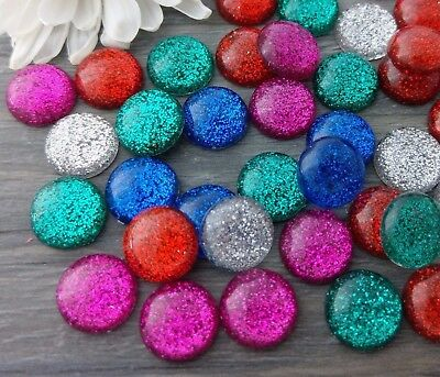 12mm Red Glitter Cabochons 10 Pcs Resin Cabs for DIY Jewelry FBC124