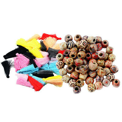 Chinese Silky Thread Tassel Charms&12mm Round Printed Boho Style Wood Beads