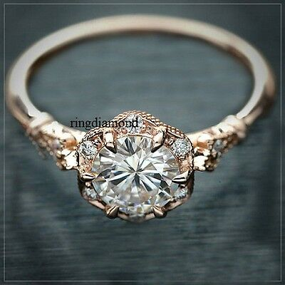 2 Ct Off White Moissanite Engagement Ring 925 Sterling Silver Rose Gold Plated