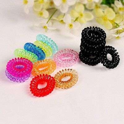 5 x Telephone Wire Hair Bobble Band Coil No Tangle Spring Scrunchie Black Spiral